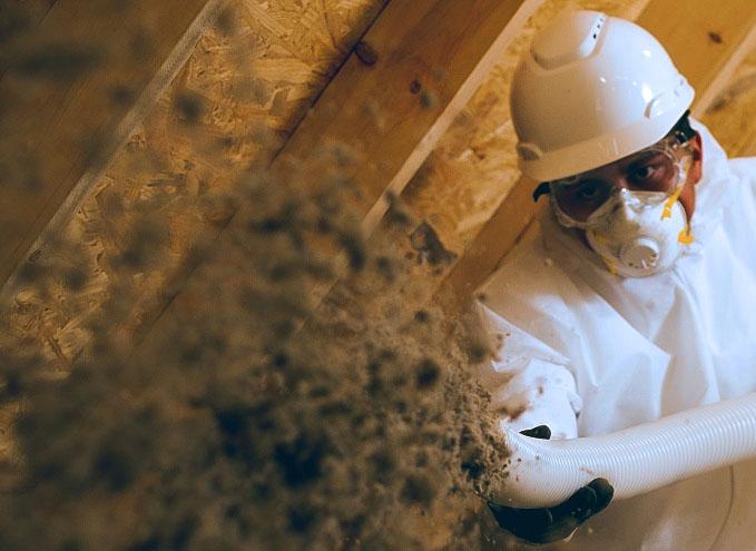 exterminator spraying in attic